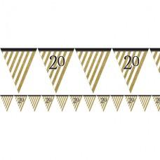 Age 20 Black & Gold Glitter Bunting - 3.7m