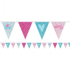 Christening Day Pink Holographic Foil Bunting - 4m