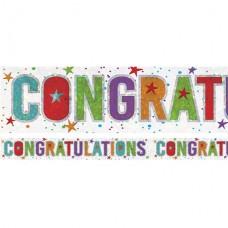 Holographic Congratulations Foil Banner - 2.7m