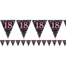 Pink Celebration Age 18 Prismatic Foil Bunting - 4m