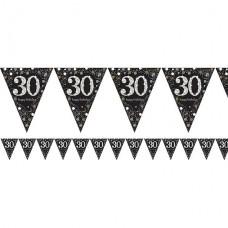 Age 30 Sparkling Celebration Prismatic Foil Bunting - 4m
