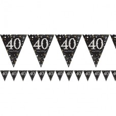 Age 40 Sparkling Celebration Prismatic Foil Bunting - 4m