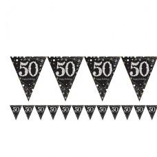 Age 50 Sparkling Celebration Prismatic Foil Bunting - 4m