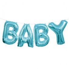 "Baby Blue Phrase Balloon Bunting - 14"" Foil 4 balloons 35.5cm"
