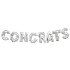 """Congrats Silver Phrase Balloon Bunting - 14"""" Foil 8 Balloons 35.5cm"""