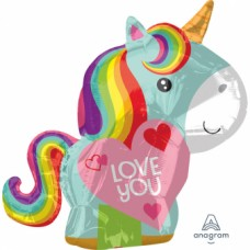 "Junior Shape ""Unicorn Love"" Foil Balloon, S50, packed, 43 x 53cm"