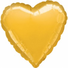 Standard Heart Metallic Gold Foil Balloon S15 Unpackaged
