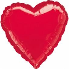 Standard Metallic Red Heart Foil Balloon S15 Unpackaged