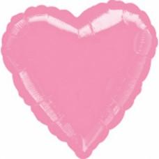 Standard Heart Metallic Pink Foil Balloon S15 Unpackaged