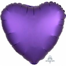 "Standard ""Satin Luxe Purple Royale"" Foil Balloon Heart, S15, packed, 43cm"