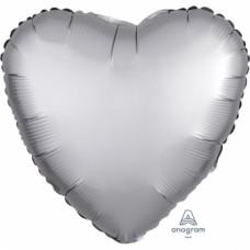 "Standard ""Satin Luxe Platinum"" Foil Balloon Heart, S15, packed, 43cm"