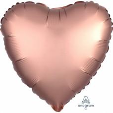 "Standard ""Satin Luxe Rose Copper"" Foil Balloon Heart, S15, packed, 43cm"