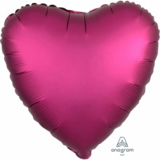 "Standard ""Satin Luxe Pomegranate"" Foil Balloon Heart, S15, packed, 43cm"