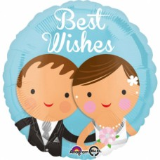 "1 Standard ""Best Wishes Wedding Couple"" Foil Balloon Round, S40, packed, 43 cm"