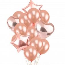Balloons bouquet rose gold - 12 pcs