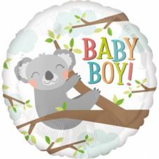 "Standard ""Baby Koala Boy"" Foil Balloon Round, S40, packed, 43cm"