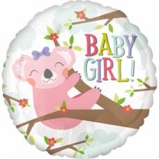 """Standard """"Baby Koala Girl"""" Foil Balloon Round, S40, packed, 43cm"""