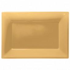 3 Platters Plastic 33 x  23 cm Gold