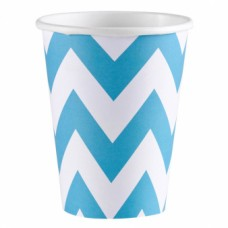 8 Cups Carribean Blue Chevron 266 ml