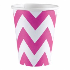 8 Cups Bright Pink Chevron 266ml