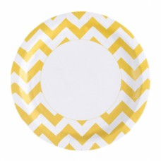 8 Plates Sunshine Yellow Chevron 23 cm