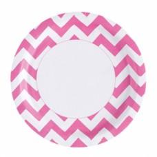 8 Plates Bright Pink Chevron 23 cm