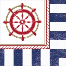 16 Beverage Napkins Anchors Aweight 25 cm