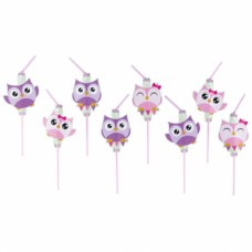 8 Drinking Straws Happy Owl