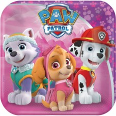 "8 Plates square ""Paw Patrol Pink"", 18cm"