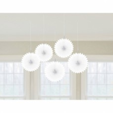 5 Paper Fan Decorations White 15.2 cm