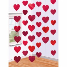6 String Decorations Candy Hearts 210 cm