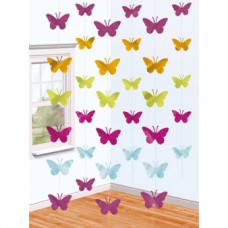 6 String Decorations Butterflies 210 cm