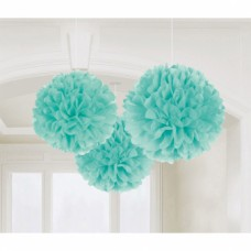 3 Fluffy Decorations Robin's Egg Blue