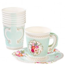 12 Truly Scrumptious Vintage Paper Cups with Saucers