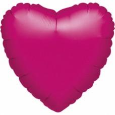 Standard Heart Metallic Fuchsia Foil Balloon S15 Unpackaged