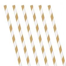 24 Gold Stripe Paper Straws
