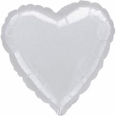 "Standard ""Metallic Silver"" Foil Balloon Heart, S15, packed, 43cm"