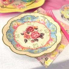 12 Vintage Tea Party Paper Plates - 17cm