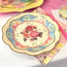 12 Vintage Tea Party Paper Plates - 17cm
