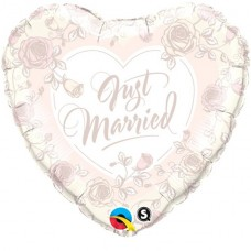 "1 Just Married Roses Print Heart Shaped Wedding Balloon - 18"" Foil"