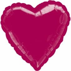 Standard Heart Burgundy Foil Balloon S15 Unpackaged