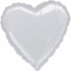 Standard Heart Metallic SilverFoil Balloon S15 Unpackaged