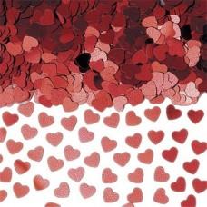 Red Sparkle Hearts Metallic Confetti - 14g