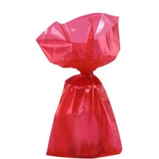 Red Small Cello Party Bags - 24cm 1pc