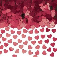 Burgundy Sparkle Hearts Metallic Confetti - 14g