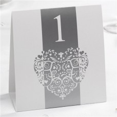 Vintage Romance White/Silver Wedding Table Numbers