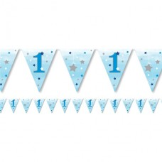 One Little Star Boy Paper Bunting 11 flags 3.7cm
