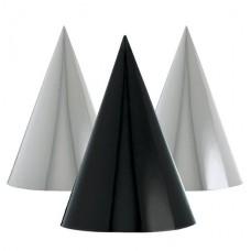 Black & Silver Metallic Cone Party Hats - 17cm