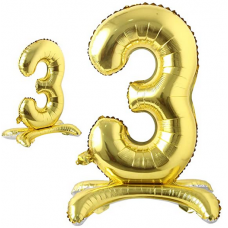 Foil Standing Balloons, number 3, gold 81cm