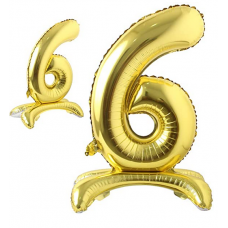 Foil Standing Balloons, number 6, gold 81cm